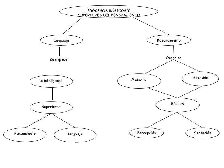 PROCESOS BÁSICOS Y SUPERIORES DEL PENSAMIENTO Lenguaje se implica La inteligencia Superiores Pensamiento L enguaje Razonam...