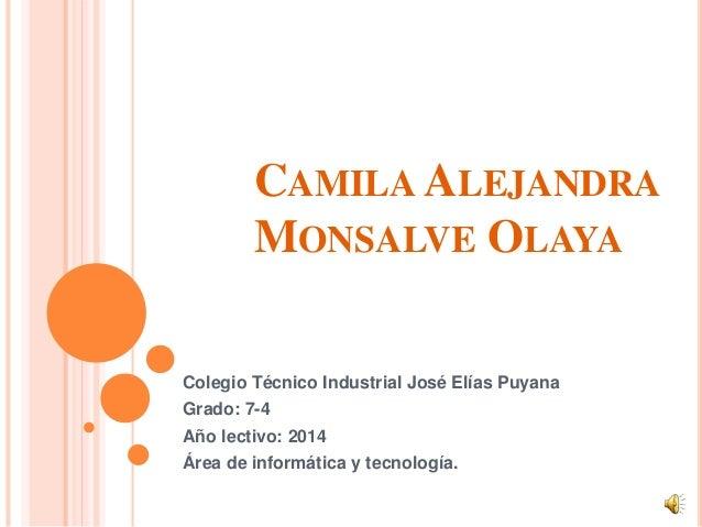 CAMILA ALEJANDRA MONSALVE OLAYA Colegio Técnico Industrial José Elías Puyana Grado: 7-4 Año lectivo: 2014 Área de informát...