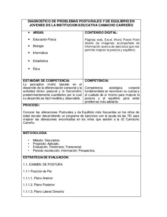 DIAGNOSTICO DE PROBLEMAS POSTURALES Y DE EQULIBRIO EN  JOVENES DE LA INSTITUCION EDUCATIVA CAMACHO CARREÑO   AREAS:   Ed...