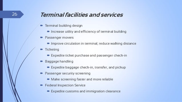 27  Facilities required at Terminal Building  Access and Landside Interface.  Processing.   Holding Areas.  Airlines a...