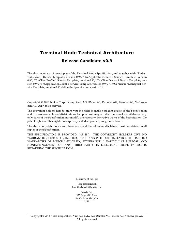 Terminal Mode Technical Architecture                             Release Candidate v0.9   This document is an integral par...