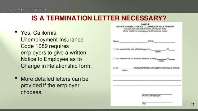 Terminating Employees in California