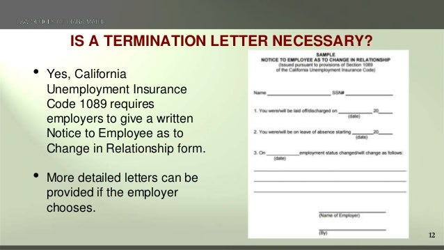 12 12 is a termination letter