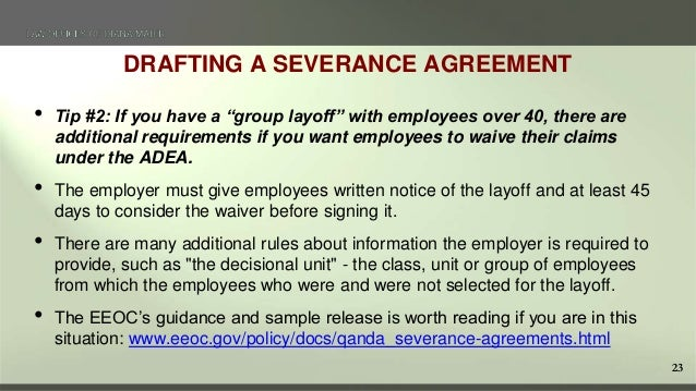 Terminating Employees in California – Sample Severance Agreement