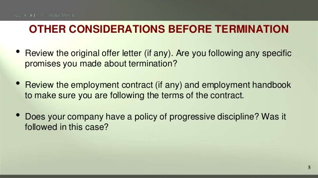 5 5 other considerations before termination