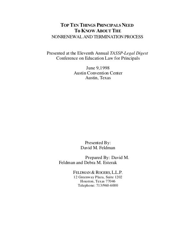 TOP TEN THINGS PRINCIPALS NEED           To KNOW ABOUT THE  NONRENEWAL AND TERMINATION PROCESSPresented at the Eleventh An...