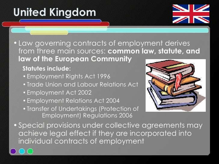 United Kingdom <ul><li>Law governing contracts of employment derives from three main sources:  common law, statute, and la...