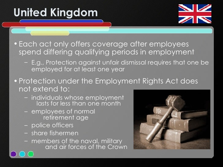 United Kingdom <ul><li>Each act only offers coverage after employees spend differing qualifying periods in employment  </l...