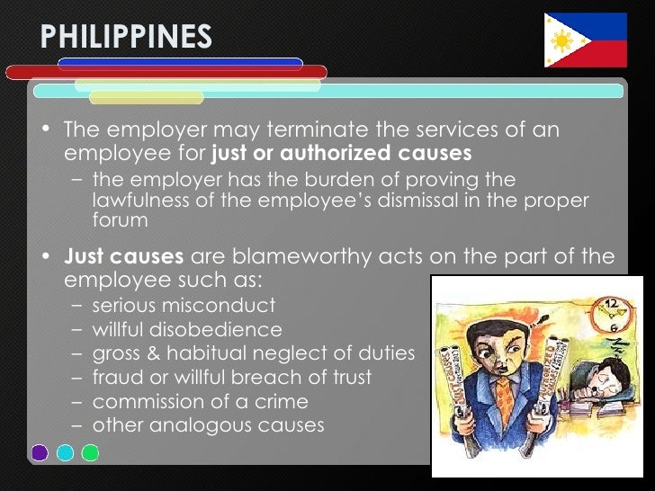 PHILIPPINES <ul><li>The employer may terminate the services of an employee for  just or authorized causes </li></ul><ul><u...