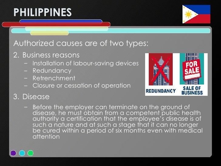 PHILIPPINES <ul><li>Authorized causes are of two types: </li></ul><ul><li>Business reasons </li></ul><ul><ul><li>Installat...