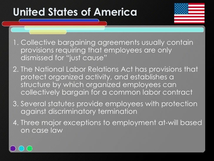 United States of America <ul><li>Collective bargaining agreements usually contain provisions requiring that employees are ...