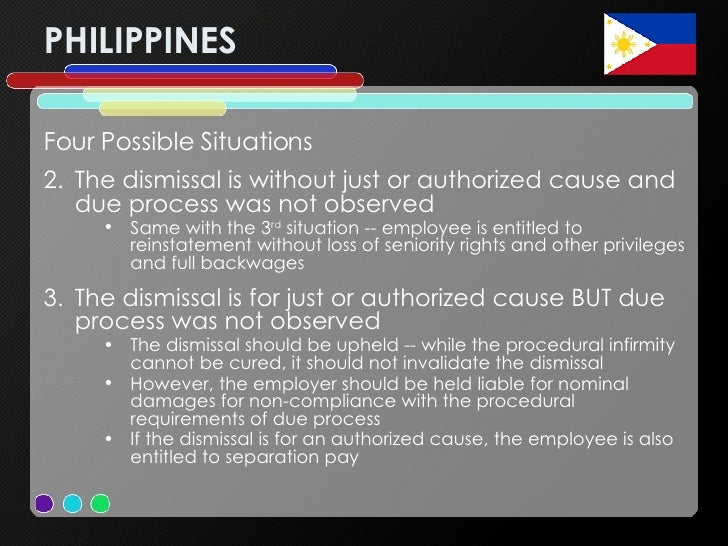 PHILIPPINES <ul><li>Four Possible Situations </li></ul><ul><li>The dismissal is without just or authorized cause and due p...