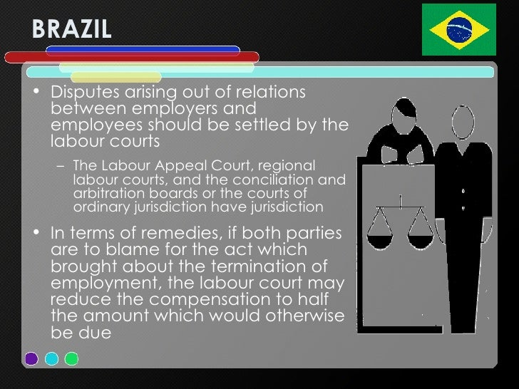 BRAZIL <ul><li>Disputes arising out of relations between employers and employees should be settled by the labour courts </...