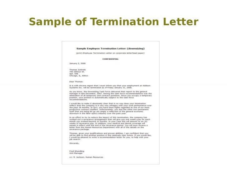 Sample Termination Letters Sample Employment Contract Termination