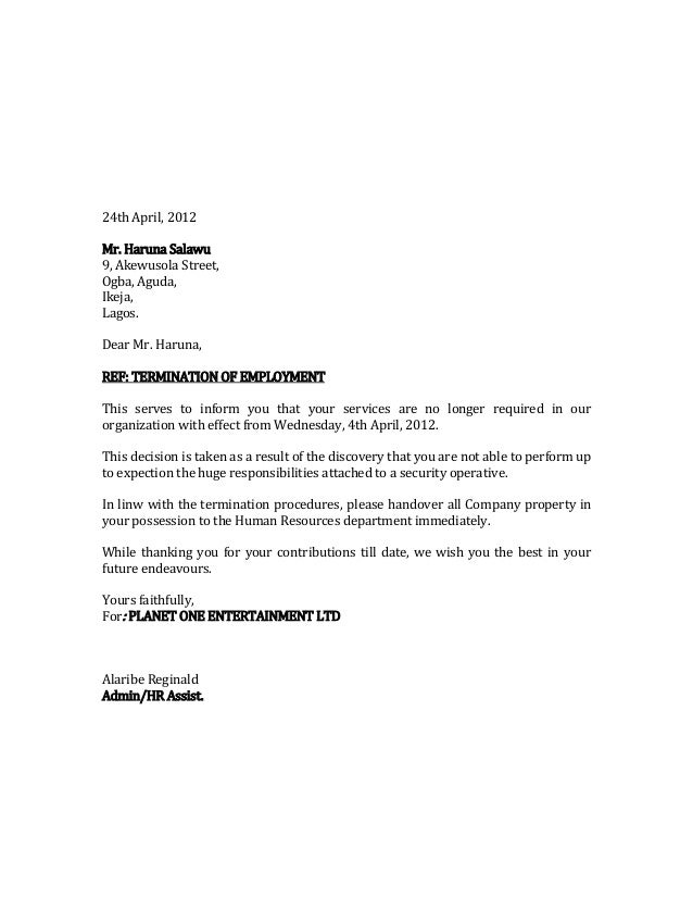 termination letter of salau haruna 24th april 2012 mr haruna salawu 9 akewusola street ogba