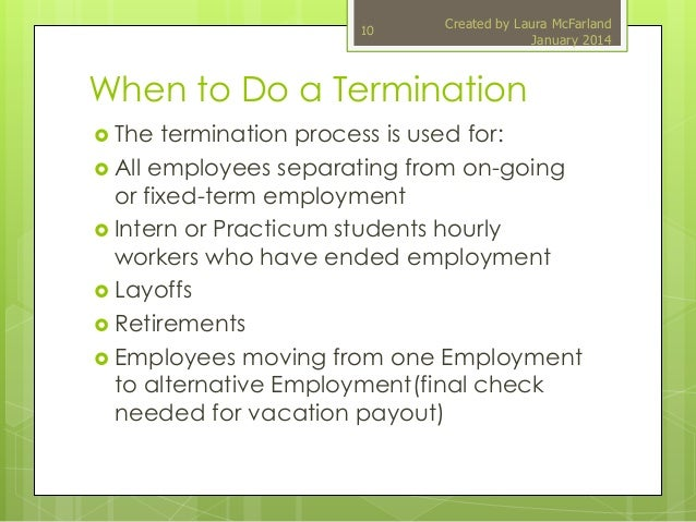 termination process Letting an employee go can be a dirty job, but the it department must help do it - always, if you're smart it is necessary to involve it in the employee termination process because a former employee who still has access to a company's network and proprietary corporate data is a security threat in.