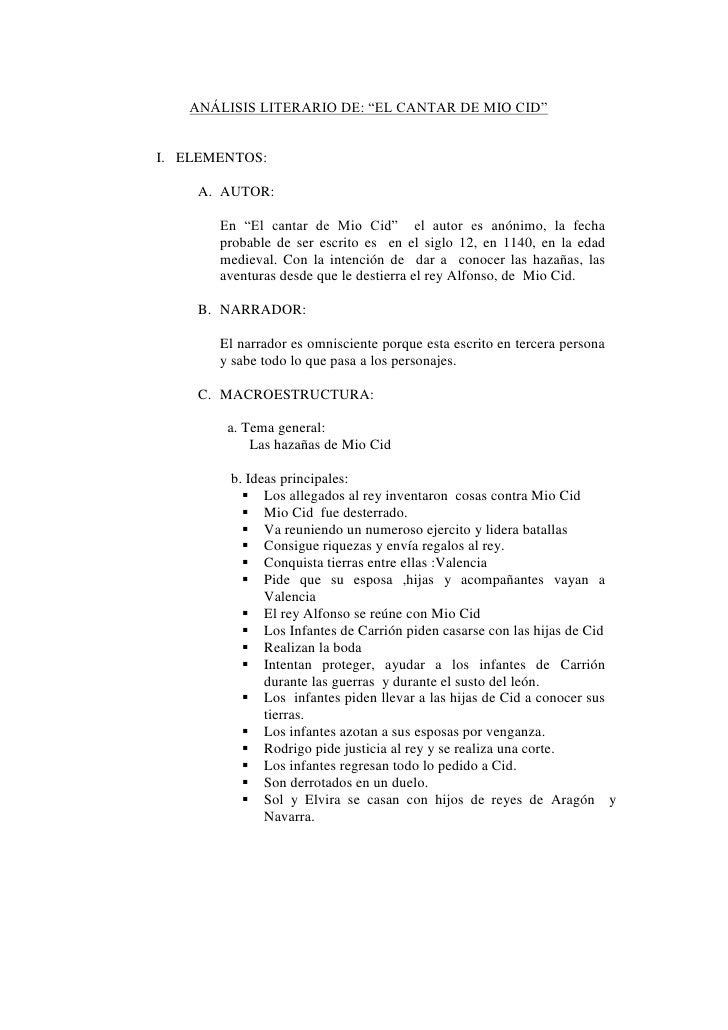 """ANÁLISIS LITERARIO DE: """"EL CANTAR DE MIO CID""""I. ELEMENTOS:    A. AUTOR:       En """"El cantar de Mio Cid"""" el autor es anónim..."""