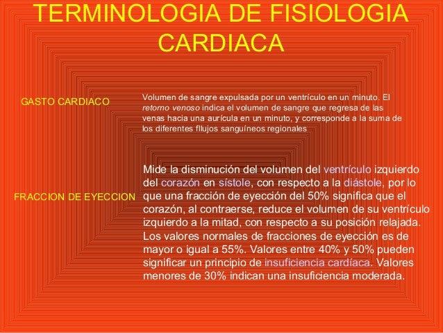 TERMINOLOGIA DE FISIOLOGIA CARDIACA GASTO CARDIACO Volumen de sangre expulsada por un ventrículo en un minuto. El retorno ...