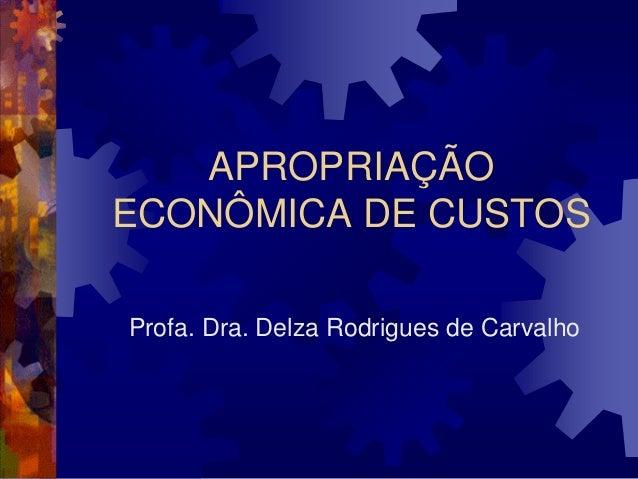 APROPRIAÇÃOECONÔMICA DE CUSTOSProfa. Dra. Delza Rodrigues de Carvalho