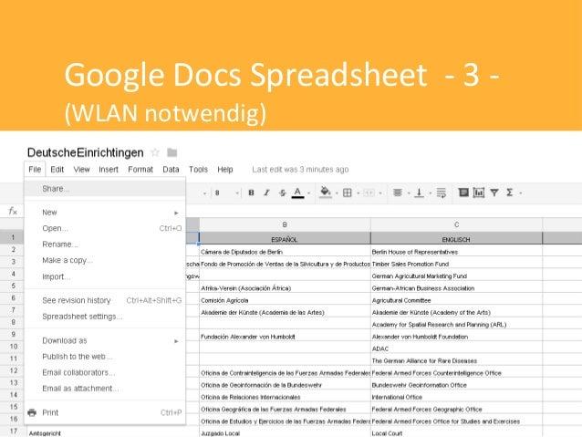 Google Docs Spreadsheet - 3 -(WLAN notwendig)