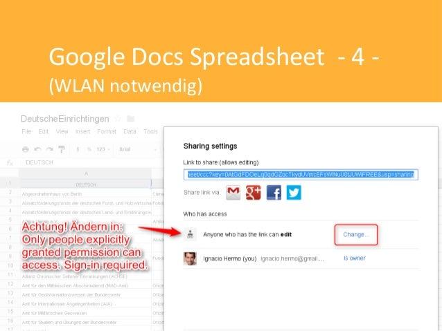 Google Docs Spreadsheet - 4 -(WLAN notwendig)