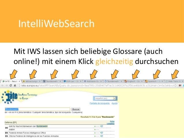 IntelliWebSearchMit IWS lassen sich beliebige Glossare (auchonline!) mit einem Klick gleichzeitig durchsuchen