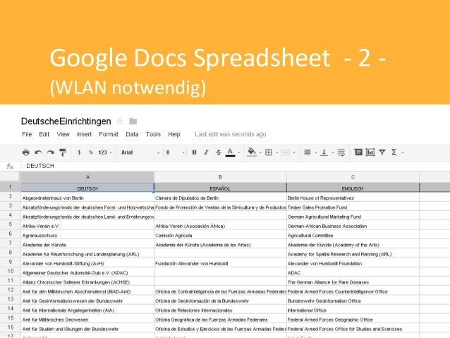 Google Docs Spreadsheet - 2 -(WLAN notwendig)