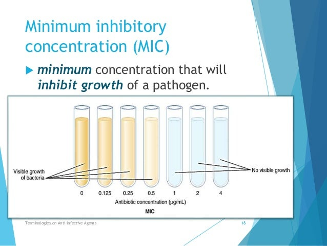 determining the minimum inhibitory concentration biology essay The test measures the antimicrobial activity, by determining the smallest amount of agent necessary to inhibit the growth of a specific test organism, this value is the minimum inhibitory concentration (mic.