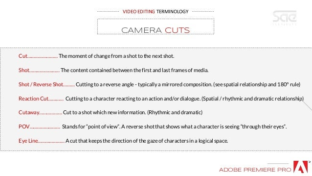 VIDEO EDITING TERMINOLOGY Cut…………………… The moment of change from a shot to the next shot. Shot…………………… The content containe...