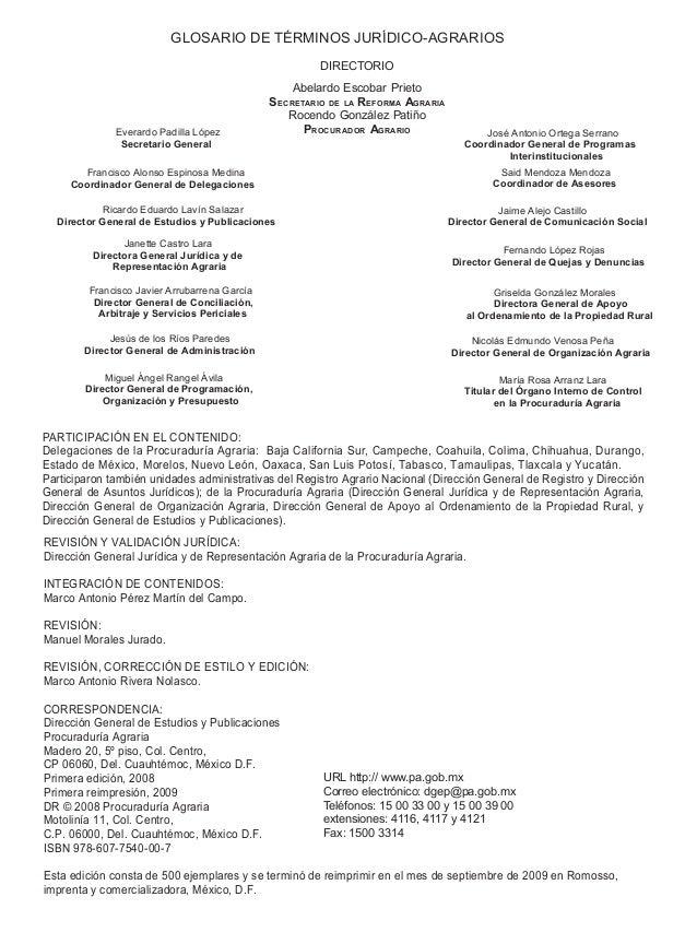 GLOSARIO DE TÉRMINOS JURÍDICO-AGRARIOS DIRECTORIO Abelardo Escobar Prieto SECRETARIO DE LA REFORMA AGRARIA Rocendo Gonzále...
