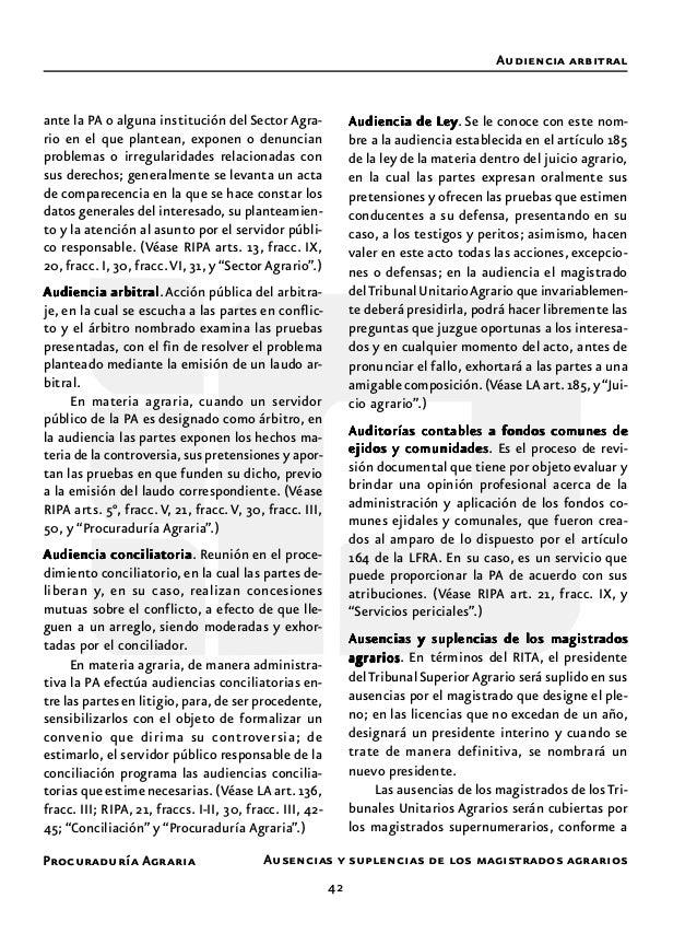 Procuraduría Agraria 44 AAAAAvenenciavenenciavenenciavenenciavenencia.Ajustar los ánimos de quienes esta- ban opuestos ent...
