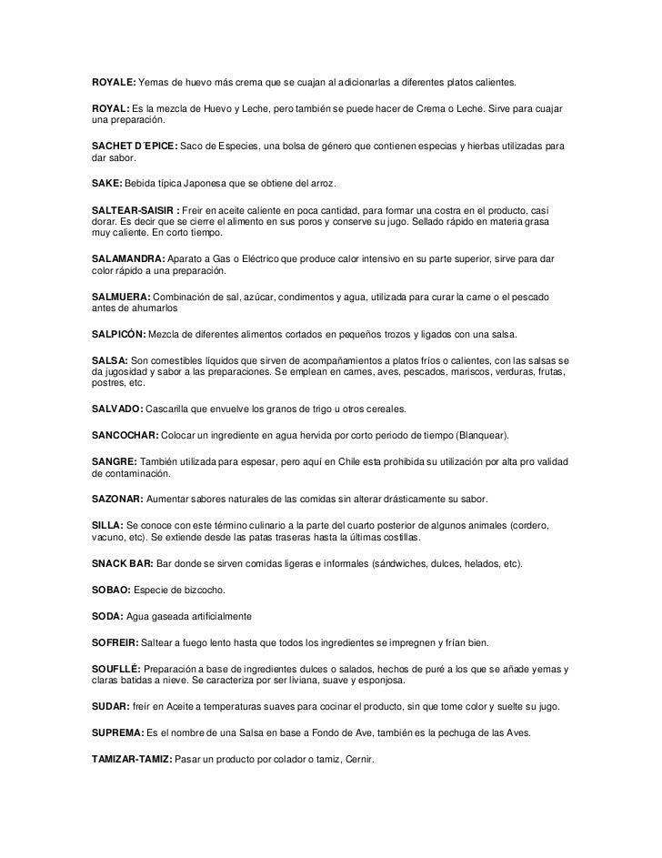 Terminos culinarios completo for Terminos de cocina