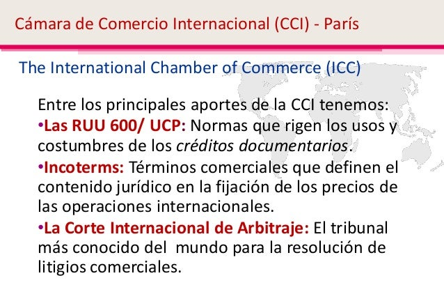 Terminos de comercio internacional clase 1 for Chambre de commerce international de paris