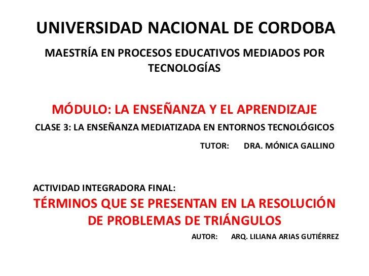 UNIVERSIDAD NACIONAL DE CORDOBA<br />MAESTRÍA EN PROCESOS EDUCATIVOS MEDIADOS POR TECNOLOGÍAS<br />MÓDULO: LA ENSEÑANZA Y ...