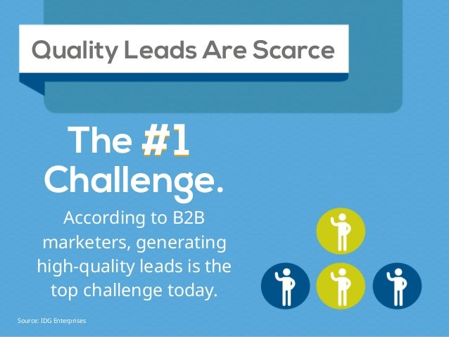 #1 According to B2B marketers, generating high-quality leads is the top challenge today. Quality Leads Are Scarce The #1 C...