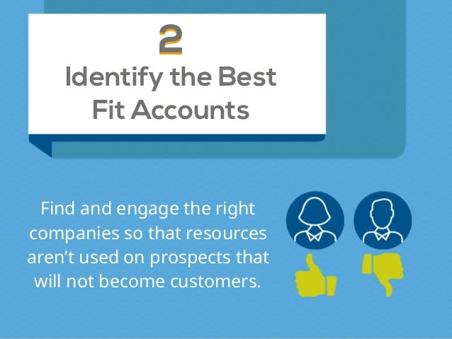 Identify the Best Fit Accounts 22 Find and engage the right companies so that resources aren't used on prospects that will...