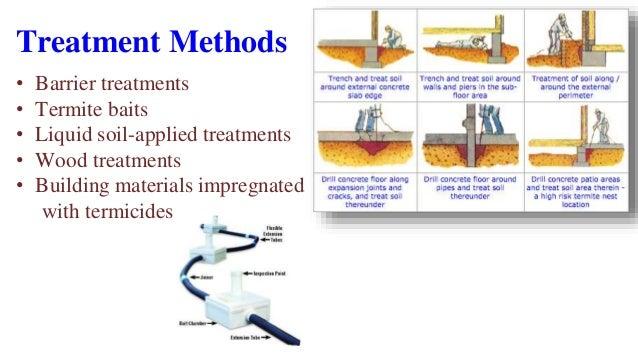 Treatment Methods • Barrier treatments • Termite baits • Liquid soil-applied treatments • Wood treatments • Building mater...
