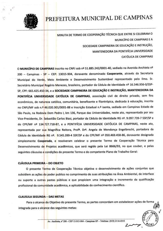 Termo cooperação técnica SVDS/PUCC