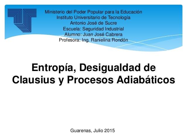 Ministerio del Poder Popular para la Educación Instituto Universitario de Tecnología Antonio José de Sucre Escuela: Seguri...