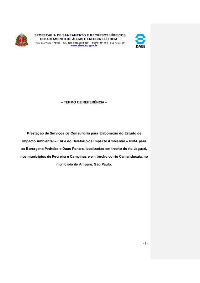 SECRETARIA DE SANEAMENTO E RECURSOS HÍDRICOS  DEPARTAMENTO DE ÁGUAS E ENERGIA ELÉTRICA  Rua Boa Vista, 170/175 – Tel. 3293...