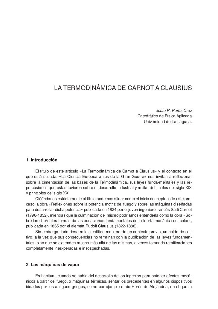 LA TERMODINÁMICA DE CARNOT A CLAUSIUS                                                                          Justo R. Pé...
