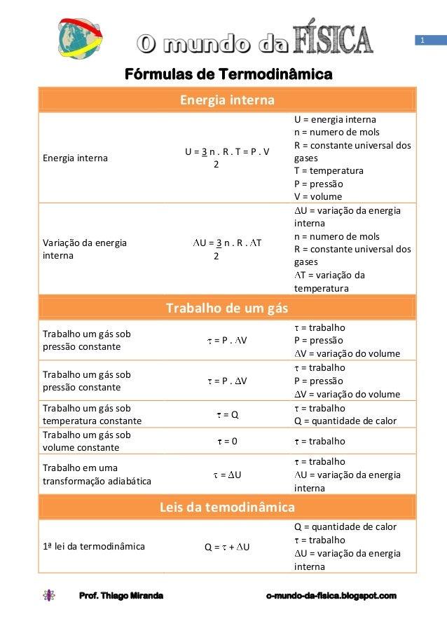 1                  Fórmulas de Termodinâmica                                Energia interna                               ...