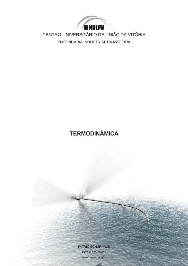 CENTRO UNIVERSITÁRIO DE UNIÃO DA VITÓRIA ENGENHARIA INDUSTRIAL DA MADEIRA TERMODINÂMICA PATRIC SCHÜRHAUS 2007 © REVISÃO 0 ...