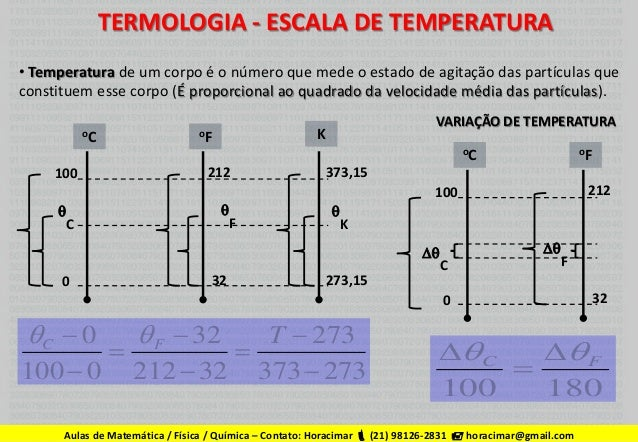 TERMOLOGIA - ESCALA DE TEMPERATURA • Temperatura de um corpo é o número que mede o estado de agitação das partículas que c...