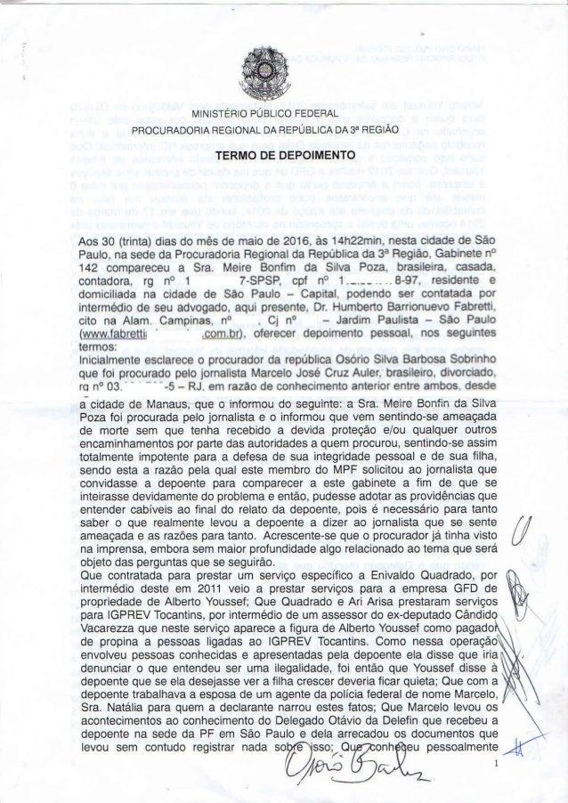 Depoimento de Meire Poza ao procurador regional Osório Barbosa
