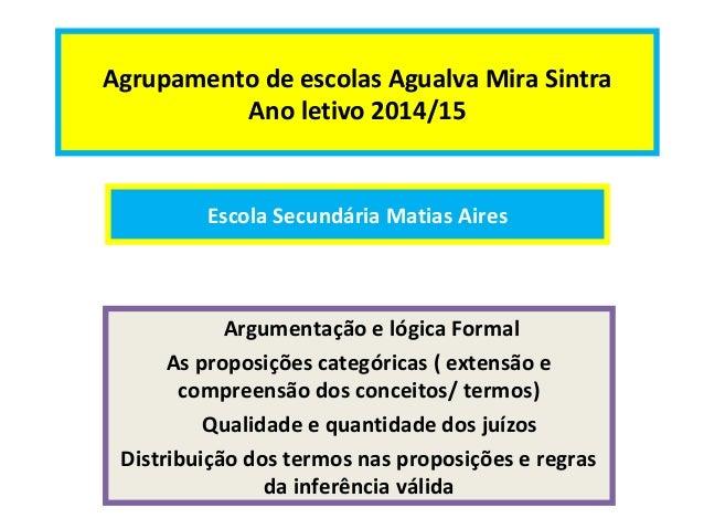Agrupamento de escolas Agualva Mira Sintra  Ano letivo 2014/15  Escola Secundária Matias Aires  Argumentação e lógica Form...