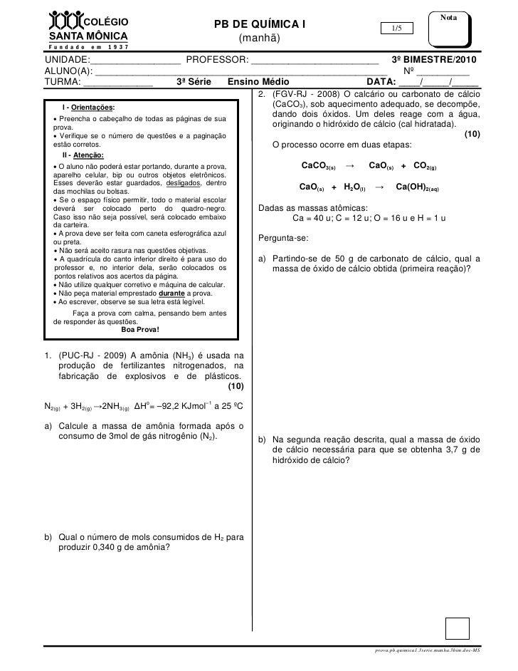 Nota                                                      PB DE QUÍMICA I                             1/5                 ...