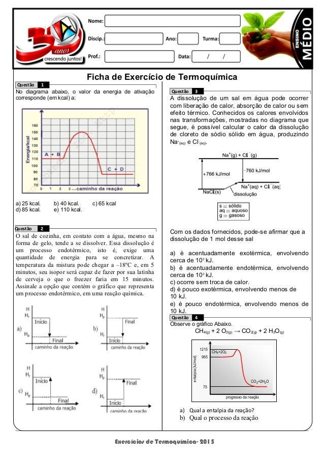 Exercícios de Termoquímica- 2015 1215 965 75 entalpia(kJ/mol) progresso da reação CH4+2O2 CO2+2H2O Ficha de Exercício de T...
