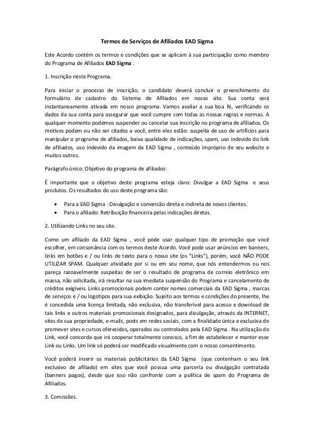 Termos de Serviços de Afiliados EAD Sigma  Este Acordo contém os termos e condições que se aplicam à sua participação como...