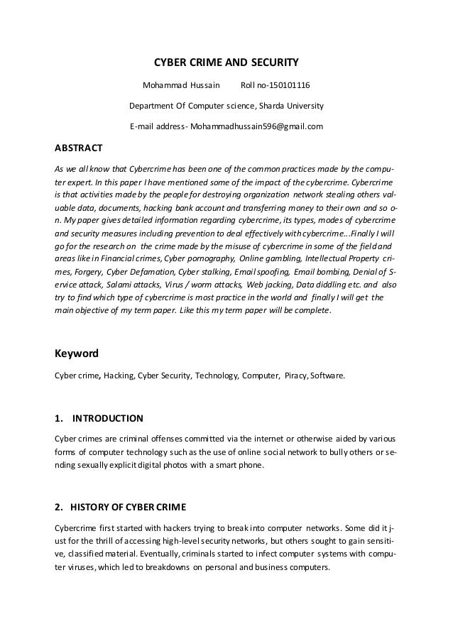 research paper on cyber security  cyber crime and security mohammad hussain roll no 150101116 department of computer science